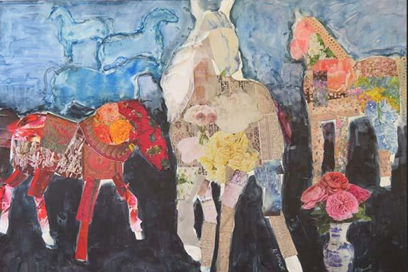Horses of a Different Color by Rachel Pavlic, a watercolor collage on yupo received an honorable mention.