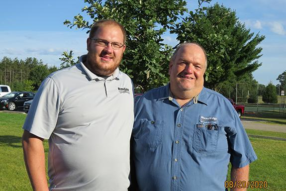 Parker Detjens (left) and Duane Detjens (right) spoke with the Wautoma Kiwanis about StoneRidge at the morning meeting.
