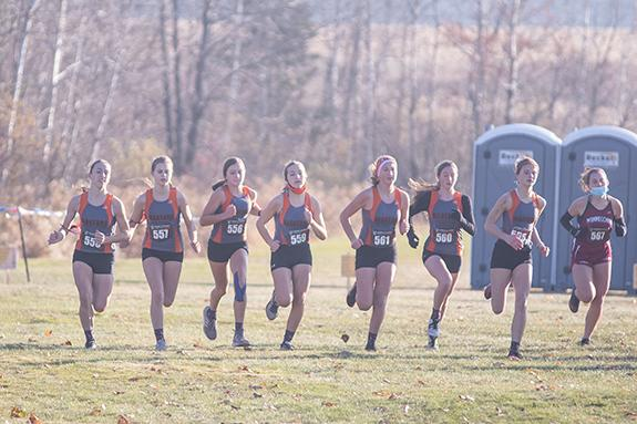 The Wautoma-Wild Rose Girls Cross Country team takes off from the starting line of the WIAA State Cross Country meet held at Colby High School on Oct. 31. Pictured (left to right): Megan Miller, Jaidyn Knueppel, Laney Havlovitz, Laney Panich, Madylyn Woyak, Teagan Reitz, and Mya Bahr.