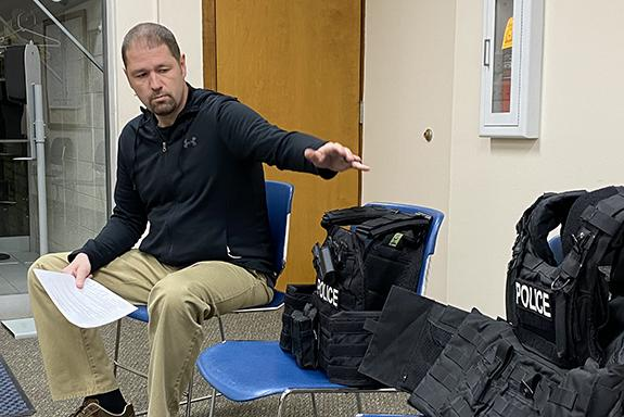 Wautoma Police Sergeant Joey Rosin explained the benefits of the new tactical vests to the Wautoma Common Council on Jan. 11.